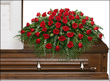 Red Rose Funeral Casket Spray